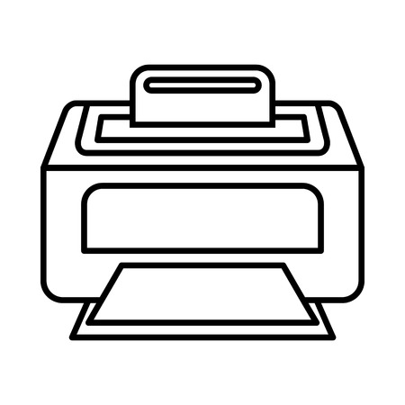 laser printer: Modern laser printer icon in outline style isolated on white background