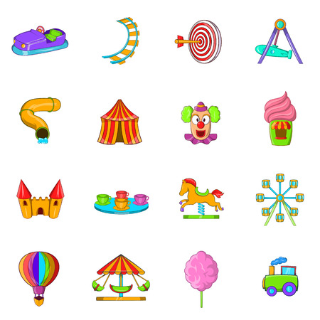 ferriswheel: Amusement Park icons set in cartoon style isolated on white background