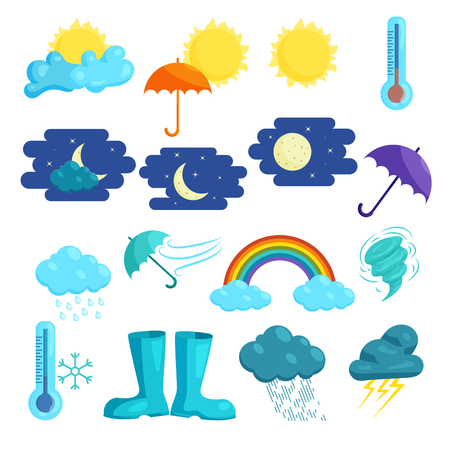 Weather icons set in cartoon style isolated on white background