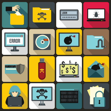 ddos: Criminal activity icons set in flat style for any design Illustration