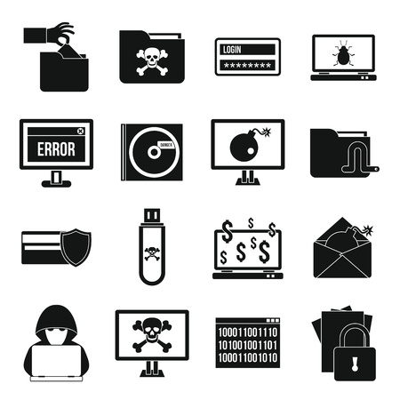 ddos: Criminal activity icons set in simple style isolated on white background