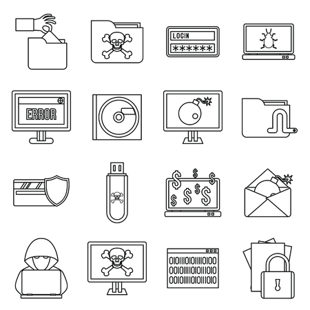 ddos: Criminal activity icons set in outline style isolated on white background Illustration