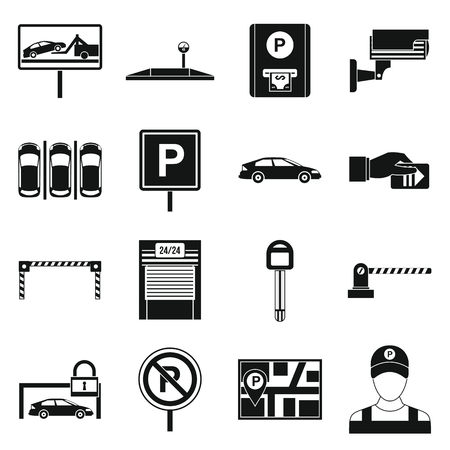 traffic warden: Car parking icons set in simple style isolated on white background