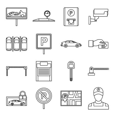 Icone di parcheggio fissati in stile contorno isolato su sfondo bianco Vettoriali