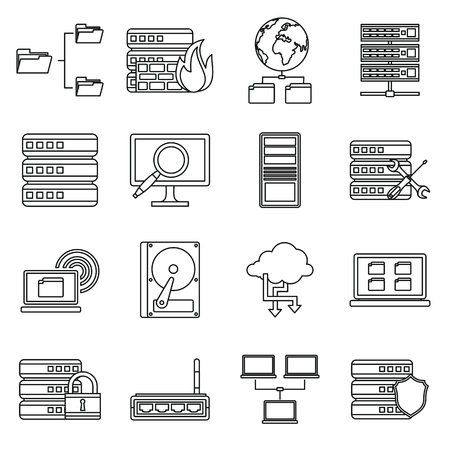 Big data icons set in outline style isolated on white background