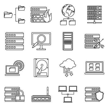 icono computadora: Grandes iconos de datos establecidos en el estilo de contorno aislado en el fondo blanco Vectores