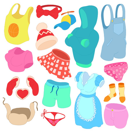 cartoon underwear: Clothes Icons set in cartoon style isolated on white background