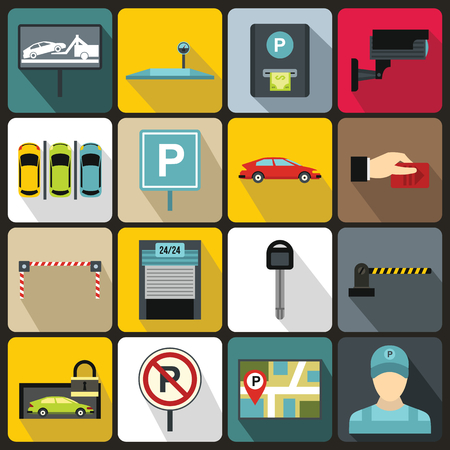traffic warden: Car parking icons set in flat style for any design