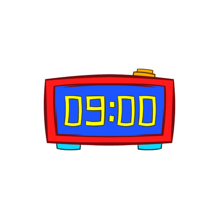 cartoon clock: Digital table clock showing 10 25 icon in cartoon style on a white background Illustration