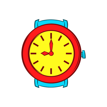 chronograph: Red wrist watch icon in cartoon style on a white background