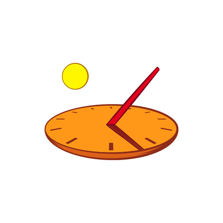 cartoon clock: Sundial icon in cartoon style on a white background