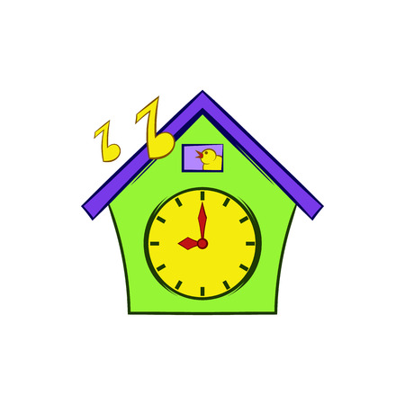 reloj cucu: icono del reloj de cuco en el estilo de dibujos animados sobre un fondo blanco
