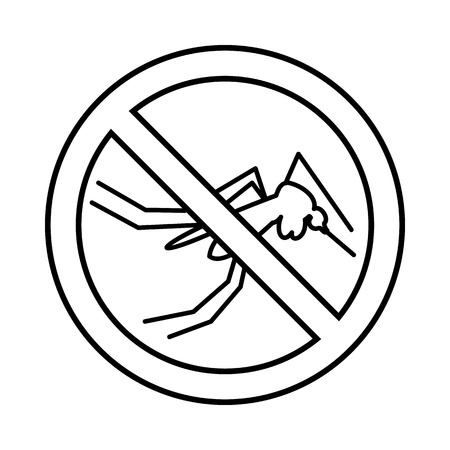 no mosquito: No mosquito sign icon in outline style isolated on white background