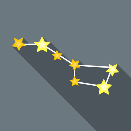 zodiacal: Zodiacal constellation icon in flat style with long shadow. Space symbol