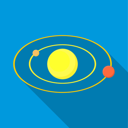 cosmo: Solar system icon in flat style with long shadow. Space symbol Illustration