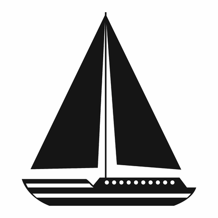 sea transport: Sea yacht icon in simple style isolated on white background. Sea transport symbol