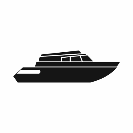 planing: Planing powerboat icon in simple style isolated on white background. Sea transport symbol Illustration