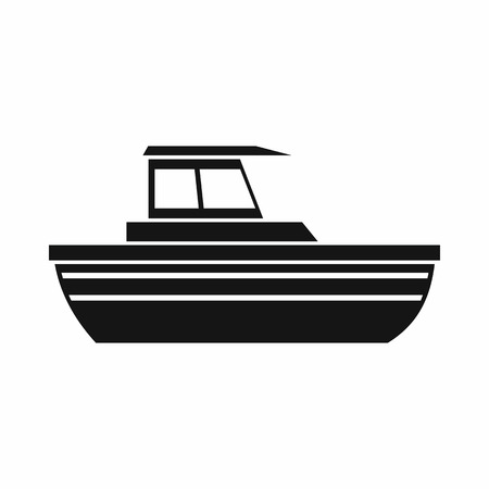 motor boat: Motor boat icon in simple style isolated on white background. Sea transport symbol Illustration