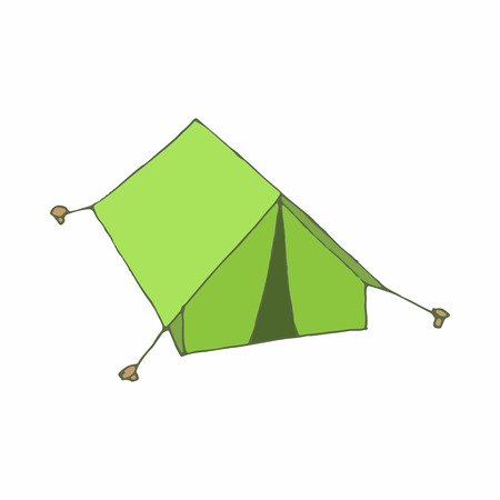 hopeless: Green tent icon in cartoon style on a white background Illustration
