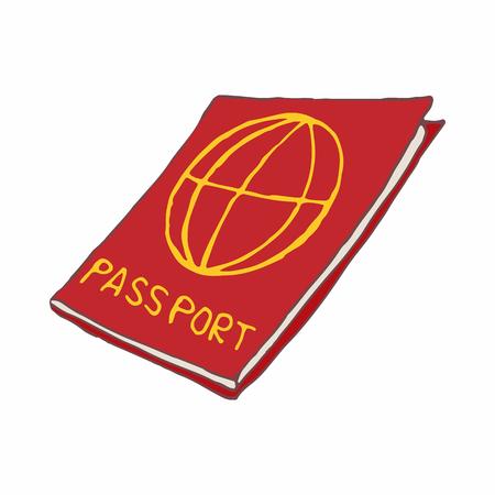 gente aeropuerto: icono de pasaporte rojo en estilo de dibujos animados sobre un fondo blanco