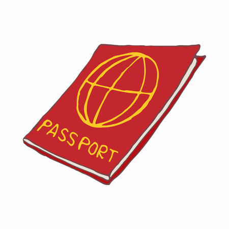 airport security: Red passport icon in cartoon style on a white background Illustration
