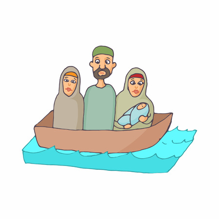 stateless: Refugees in a boat icon in cartoon style on a white background