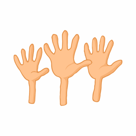 illegally: Open empty raising hands to ask for something icon in cartoon style on a white background