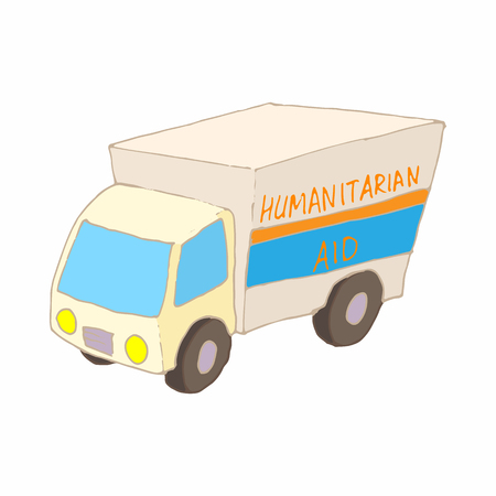 Humanitarian aid car icon in cartoon style on a white background Illustration