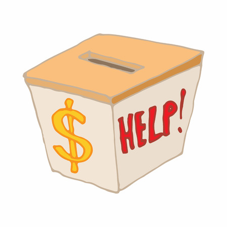 Box with cash donations icon in cartoon style on a white background