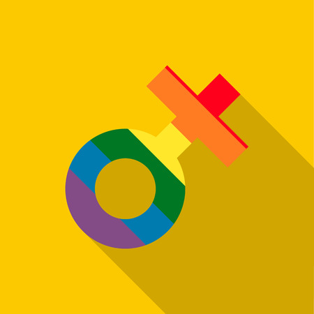 sex chromosomes: Female rainbow sign icon in flat style on a yellow background Illustration