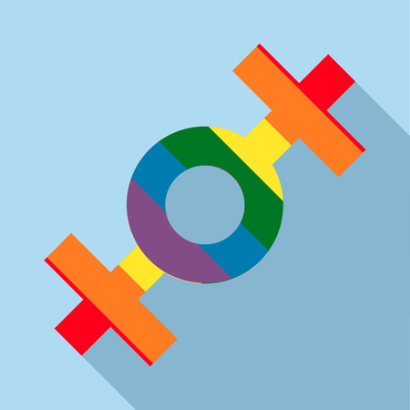 sex chromosomes: Lesbian rainbow sign icon in flat style on a light blue background Illustration