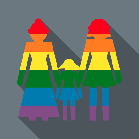 lesbian love: Lesbian couple with baby girl icon in flat style on a grey background Illustration
