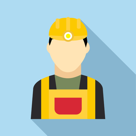 metallurgist: Coal miner icon in flat style on a light blue background