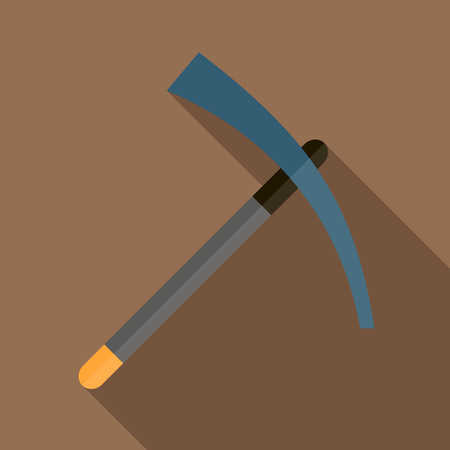 mattock: Pick tool icon in flat style on a brown background Illustration