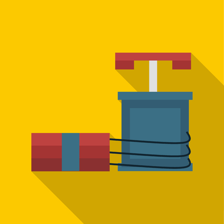 detonator: Dynamite and detonator icon in flat style on a yellow background Illustration