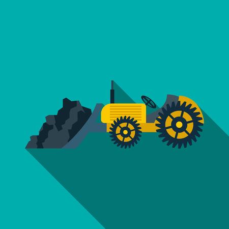machine operator: Bulldozer loading coal icon in flat style on a turquoise background Illustration