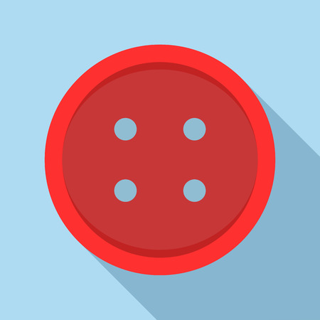 sewn: Red sewn button icon in flat style on a light blue background Illustration