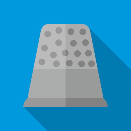 thimble: Steel thimble icon in flat style on a blue background