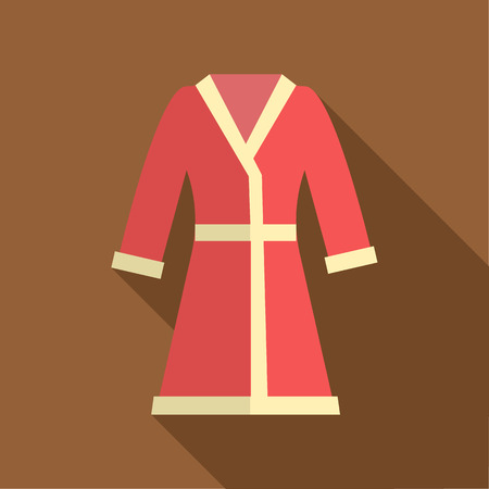 bathrobe: Red bathrobe icon in flat style on a brown background