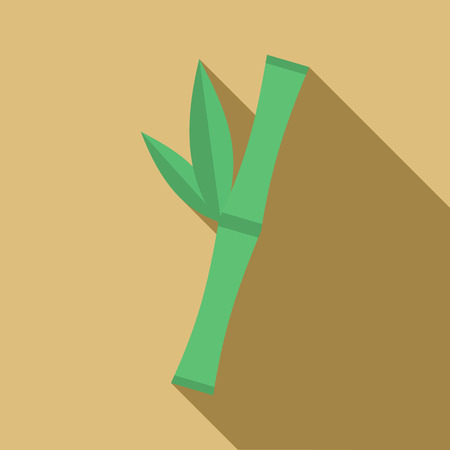 Green bamboo stem icon in flat style on a beige background 矢量图像