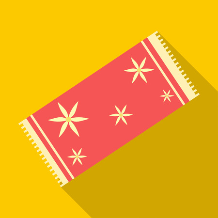 absorbent: Red towel icon in flat style on a yellow background Illustration