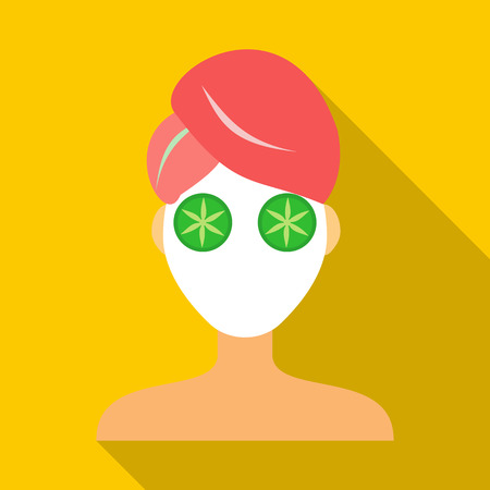 clay mask: Spa facial clay mask icon in flat style on a yellow background