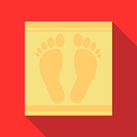 carpet and flooring: Bath mat icon in flat style on a red background
