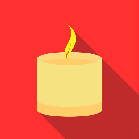 spa still life: Burning candle icon in flat style on a red background Illustration