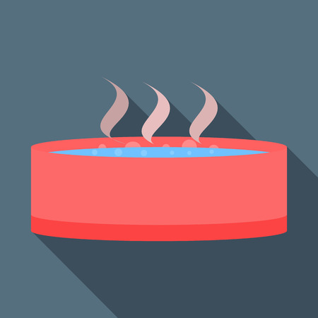 hot tub: Spa or hot tub icon in flat style on a grey background