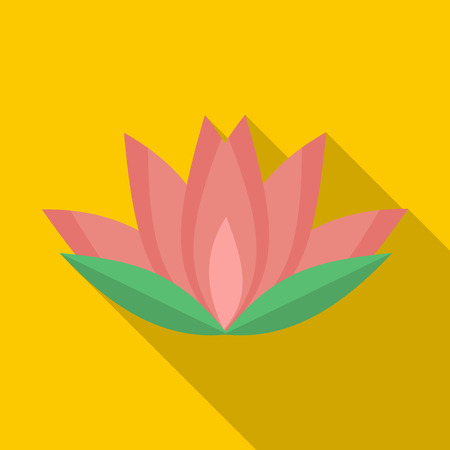 Lotus-Blume Symbol Im Cartoon-Stil Auf Einem Weißen Hintergrund ...