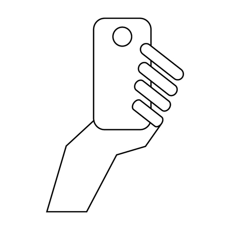 mobile communication: Mobile in hand icon in outline style isolated on white background. Communication symbol