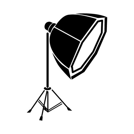 softbox: Studio light in softbox icon in simple style on a white background