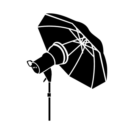 strobe light: Studio flash with umbrella icon in simple style on a white background