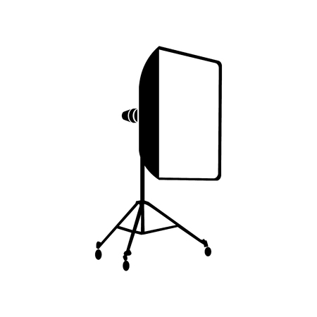 Studio light bulb in softbox icon in simple style on a white background  イラスト・ベクター素材